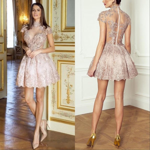 Clássico Vestidos Homecoming Sheer High Neck Illusion Cap Sleeves Lace Appliques Rosa Partido Festa Graduação Cocktail Vestidos