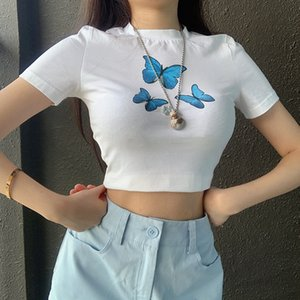 Summer Womens Designer Tshirts Butterfly Printed Short Sleeve Solid Color Hollow Out Tops Casual Female Clothing