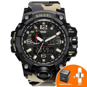 2020 Smael luxe orange Camouflage Montres militaires Smael Marque Montre numérique LED Montre Sport 1545B Mens Watch