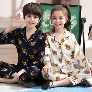 Дети Пижамы Мальчики пижамы пижамы Девочки Младенец Одежда мультфильм Медведь пижама Комплекты Детская пижама