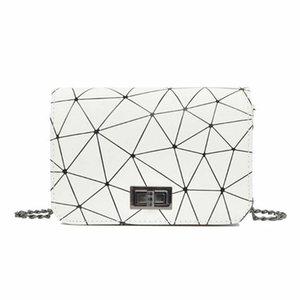 Fashion Women Bag Leather Handbags Messenger Shoulder Bags Lovely Travel Crossbody Bag Geometry Plaid Tote Purse