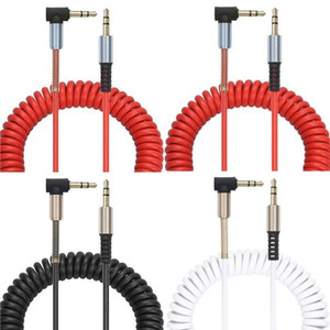 2M 3.5mm Aux Cable Gold Plated 90 Degree Angle spring Audio Cables for car Mp3 headphone speaker