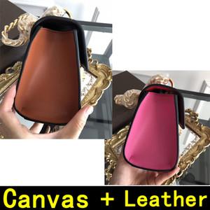 Gold cadena de cuero de la lona bolsos de hombro bolsos de materiales de alta calidad de cuero bolso de 8673