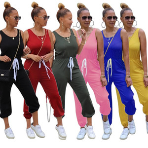 Womens jumpsuits rompers sleeveless playsuit overalls one piece pants jumpsuit women clothes casual solid pant legging klw4379