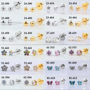 1 Pair 316L Stainless Steel Allergy Free Ear Studs CZ Heart Star Flower Crown Butterfly Sterilized Packaged Earrings Women Baby