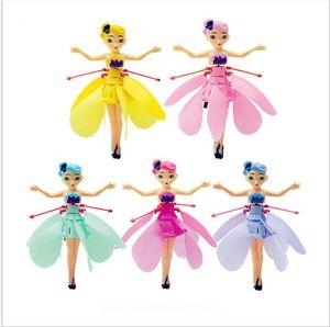 Voar fada Bonecas Brinquedos DIY Mini RC Aircraft Drone Infrared Indução de Controle LED fadas Luz boneca para meninas Presente de Natal 5 cores