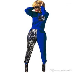 Designer Printed Sequins 2PCS Sets Casual Womens Sexy Suits Panelled Womens Tracksuits