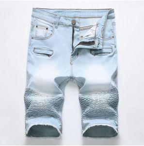 Unique Hommes Déchiré Motocycle Denim Shorts Jeans Designer De Mode Rayé Zipper Poche Rétro Grande Taille Lambrissé Jeans Court Pantalon 1782