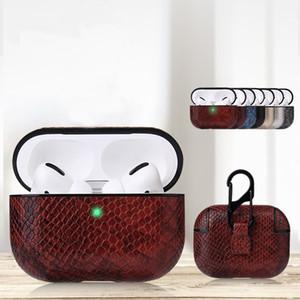 2020 New Snake Skin Patterner Designer para Moda Couro Capa Airpods Pro 3 Fone De Ouvido Auscultadores Earbuds Anti-Poeira Protetora De Choque