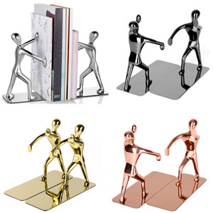 1 Çifti Ağır Hizmet Çinko Alaşım Man Dekoratif Bookends, kaydırmaz Metal Kitap Ends rafları, Kitap Desteği Kitaplar için Kitap Stoper, Dergiler