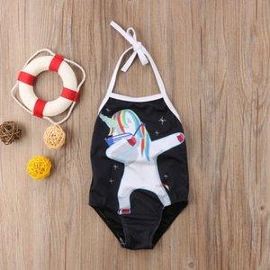 2018 nuevo estilo de dibujos animados del unicornio impresión Negro Traje de baño de los niños del bebé del bikini traje de baño determinado del bañador de la correa de ropa de playa 2-7T