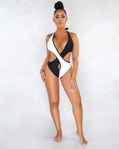 Sling Swimsuit apertado costura oco Out Verão Bikini Fashion Designer Mulheres terno de banho das mulheres Color Contrast