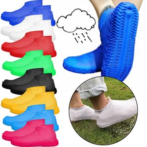Rain Shoes Covers Waterproof Reusable Rain Boots Environmental Protection Anti-skid Elastic Thicker Overshoes Shoe Accessories#D