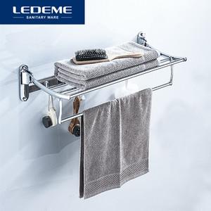 LEDEME 목욕 수건 걸이 벽 목욕 타올 홀더 더블 레일 홀더 간단한 크롬 랙 길이 60cm L809을 탑재