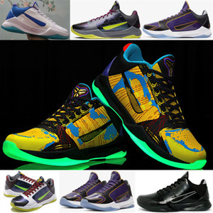 Mamba 5 Prelude final MVP coloré Master Class Chaussures de basket-ball lumineux Five Rings Black Mamba Collection Fade to Black
