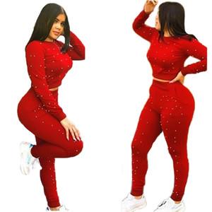 Boncuk eklenmiş rahat 2 parça set kadın o boyun tam kollu kırpma üst ve elastik bel fit ince pantolon sonbahar eşofman Tulum kıyafet