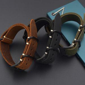 Enviar a ferramenta + 20MM / 22MM / 24MM / 26MM pulseira de couro genuíno Watch Band Para os homens verdes NATO ZULU Straps Upscale Preto Brown Strap