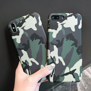 Cool Army Camo Camouflage Phone Cases For iPhone X XS XR XS Max 6 6S 7 8 Plus X Fashion Army Green Leather Soft TPU Cover Case