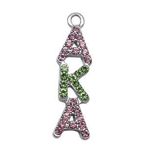 cristalino popular diamantes de imitación incrustaciones letra griega conocido como el encanto FIT sociedad hermandad de bricolaje collar pulsera joyas de metal