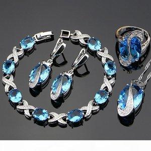 Blue Cubic Zirconia Jewelry White CZ 925 Sterling Silver Jewelry Set Women Earrings Pendant Necklace Rings Bracelet