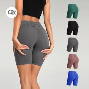 Neu bei Frauen Yoga Shorts Kombination Zurück Sporttraining Sport Leggins Knitting Fitness Hohe Taillen-dünne Jogging Fitness FY9092
