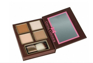 Hot COCOA Contour Kit 4 Colors Bronzers Highlighters Powder Palette Nude Color Shimmer Stick Cosmetics Chocolate Eyeshadow with Brush