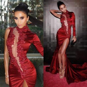Latest Long Sleeves Mermaid Evening Dresses 2019 High Neck Beads Lace Appliques Side Split Party Dress Dubai Prom Gowns Glamorous Vestidos