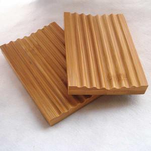 Bambou naturel savon savon Plateau Porte-savon Plaque de stockage Rack Box Conteneurs Douche Plaque Salle de bain LJJA2839