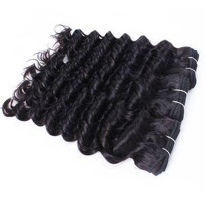 6 pc del commercio all'ingrosso onda profonda dei capelli ricci Weave Natural Brown brasiliano non trattato peruviano cambogiana malese prime vergini capelli umani indiani
