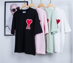 20FW nova primavera marcas de luxo AMI ponto transversal algodão amor camiseta polo camiseta Homens Mulheres Streetwear camisola ao ar livre T-shirts 1,1 4color