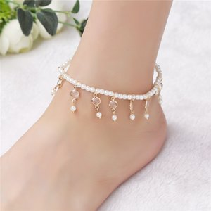 European and American ornaments Hot in summer Retro Sweet pearl beads Beads Crystal elastic anklets