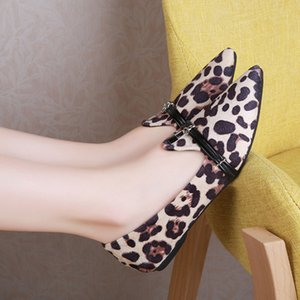 Vogue-flache Schuhe Frauen Nizza Leopard Spitzschuh Lady Bootsschuhe Flock beiläufige flache Schuhe der Frauen Chaussures Femme