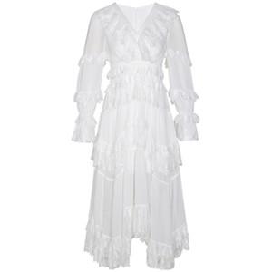 супер фея Лесная богиня нежное шифоновое белое платье летняя длинная пляжная юбка кружевное платье для похудения Приморский праздник богемное сексуальное длинное платье