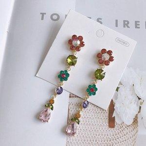 MENGJIQIAO neue Ankunfts-koreanische elegante bunte Kristallblumen-Tropfen-Ohrring für Frauen Wassertropfen Brincos Schmuck Ear Zubehör