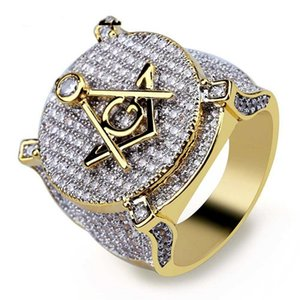 Circón de hielo fuera de Bling ancho grande masónico Anillo Gold Filled Material cobre Francmasonería anillos de los hombres de Hip Hop Rapper joyería 7-13