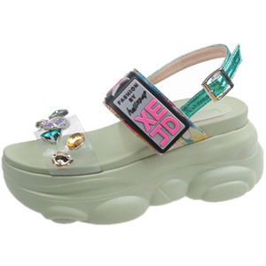NEWDISCVRY Rhinestone Style Women's Platform Sandals 2020 Summer Fashion Women Comfortable Sandals Ladies Footwears Y200702