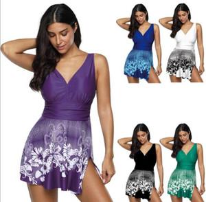 Top pas cher Big Fat plus plus conservateur mince Digital Print jupe Maillots de bain double bandoulière divisé angle plat filet de dégradé ensembles Bikinis