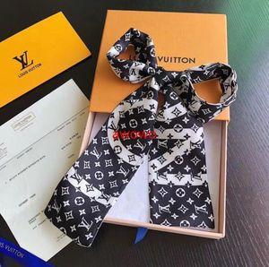 Moda negro blanco del diseñador carta bufanda bufandas de pelo bolsa de cinta de seda para las mujeres bufanda de seda noble clásica de lujo hermosa niña