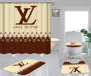 Schwarz Weiß Passender Vorhang Skid Resistant Teppich Fashion Modern Europa und Amerika WC Set Anti-Rutsch Badezimmer Teppich Dusche Curtain01