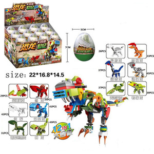 한 세트 공룡 달걀 조립 빌딩 블록 어린이 선물 작은 입자 24 개 상자 퍼즐 장난감에 맞게