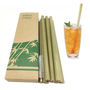 Bamboo Straw Reusable Straw Organic Bamboo Drinking Straws Natural Wood Straws For Party Birthday Wedding Bar Tool Eco-friendly Free Brush