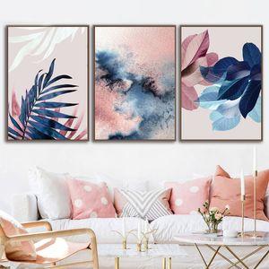 Dipinti astratti dell'acquerello Foglie Tela stampa Nordic Blush pink per Living Room Decor Botanical Wall Art