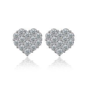 Beyaz Zirkon Küpe S925 Gümüş Kaplama Kalp Desen Basit Güzel Tasarım Damızlık Aksesuarları Küpe Moda Yılbaşı Hediyeleri POTALA763