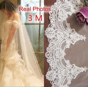 Reale Fotos 2018 3m Weiß / Elfenbein Schöne Kathedrale Länge Spitzenkante Hochzeit Brautschleier mit Kamm Hochzeit Zubehör Md3084 C19041101