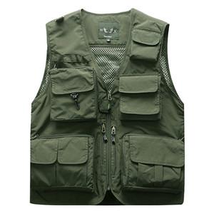야외 남성 전술 낚시 조끼 재킷 남자 멀티 민소매 여행 재킷 5XL 6XL 7XL을 포켓