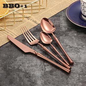 1pcs Rose Gold Salad Forks Tableware Sets Metal Dinnerch Knife Sukon keatlery wed Korean Cutlery Wednerware Set Stek knifes