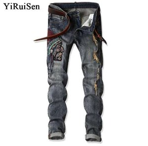 YiRuiSen Patchwork And Embroidery Indian Men's Slim Jeans Casual Long Pants Denim Jeans For Man Clothing 29-38 Size #1701