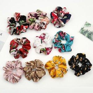 Nouvelle mode des femmes Faux de fleurs de soie Chouchous Tie cheveux Lady simple élastique satin Bandeaux filles corde cheveux Bandeaux Accessoires cheveux