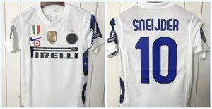Inter Milan بين ريترو جيرسي لكرة القدم 10 11 خمر موحدة لكرة القدم J.Zanetti شنايدر مايكون ميليتو قميص أبيض كلاسيكي كرة القدم