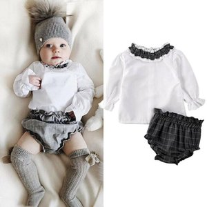 Cute Newborn Infant Baby Girls Ruffle Tops T-shirt+Plaid Shorts Outfits Clothes Summer Baby Girl Clothing Set
